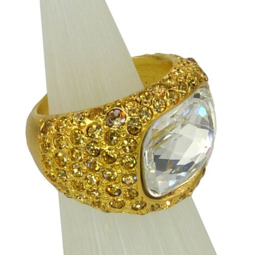 Kenneth Jay Lane Pave Crystal Ring Gold KJL - ILoveThatGift