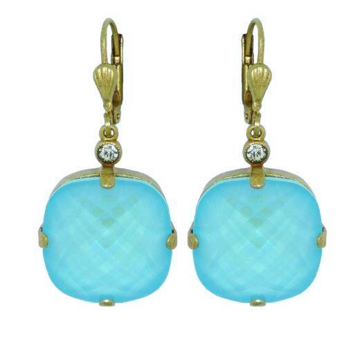 La Vie Parisienne Earrings Swarovski Crystal Popesco 6575G Blue Lagoon Extra Lar - ILoveThatGift