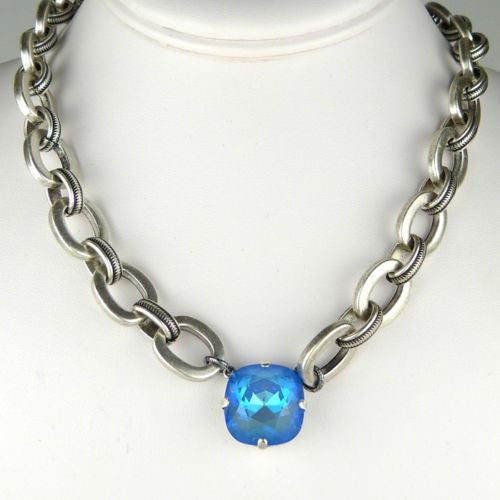 La Vie Parisienne Silver Ultra Blue Large Crystal Chain Necklace 1474G Popesco - ILoveThatGift