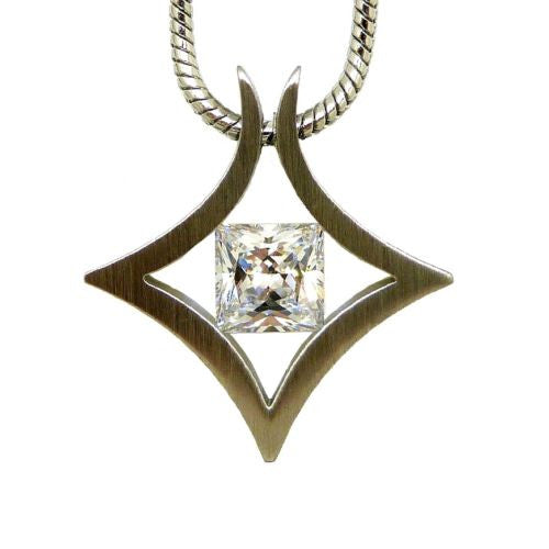 B.Tiff Natal Pendant Stainless Steel Tension Set with 1.0ct Diamond Cut Round - ILoveThatGift