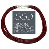 "Simon Sebbag Leather Necklace Marsala Wine Add Sterling Silver Slide 17"" - ILoveThatGift"