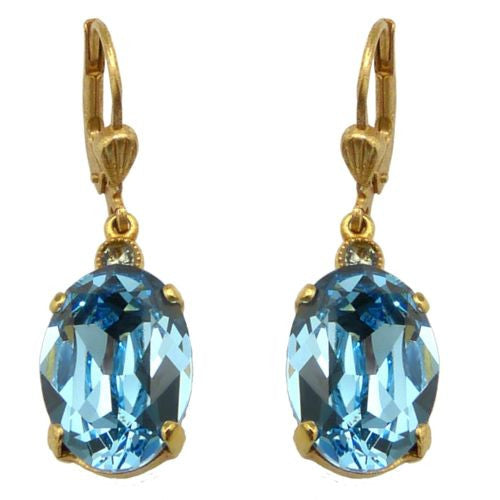 La Vie Parisienne Earrings Swarovski Crystal Popesco 6527G Aqua Oval - ILoveThatGift