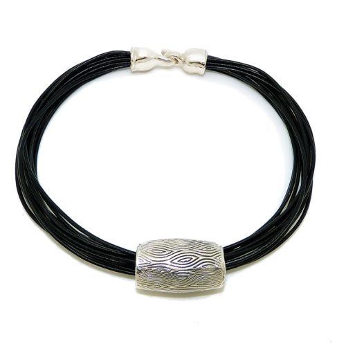 Simon Sebbag Sterling Silver Bali Textured Slide Bead 175 for Leather Necklace - ILoveThatGift