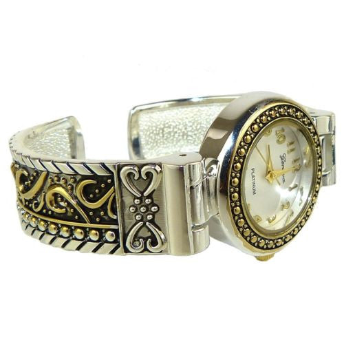 Brighton Bay Geneva Silver Gold 8646 Cuff Watch Bracelet Cable Swirls - ILoveThatGift