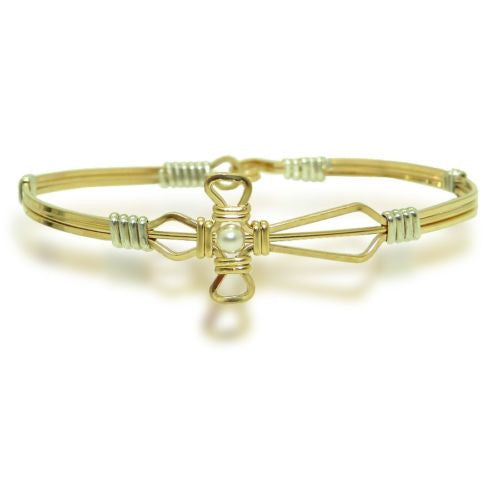 Ronaldo Jesus Loves Me 337 Bracelet 14K Gold Silver Wire White Pearl Cross - ILoveThatGift