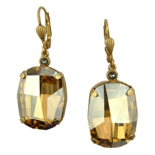 La Vie Parisienne Gold Champagne Large Swarovski Earrings 6546G Catherine Popesc - ILoveThatGift