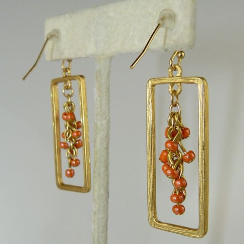 Uptown Girls Coral Satin Gold Rectangular Bead Earrings 0305344G - ILoveThatGift