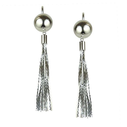Nanni Silver Metal Bead Tassel Earrings with Hoop Posts - ILoveThatGift
