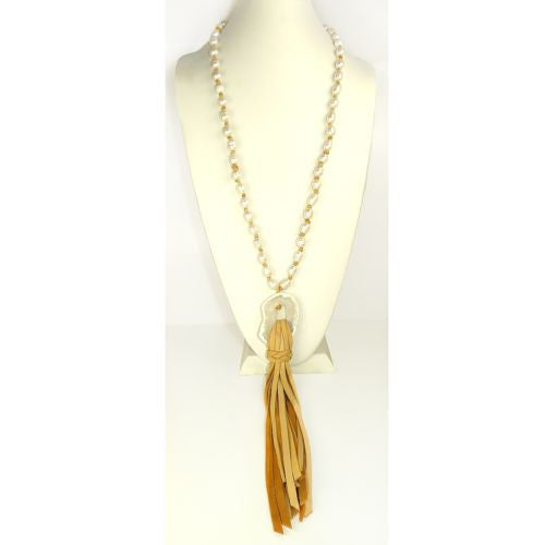 Gigi & Sugar Pearl Deerskin Pearl Quartz Necklace Lariat Wendy - ILoveThatGift