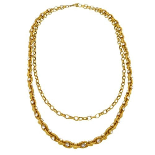 La Vie Parisienne Gold Convertible Clear Crystal Chain Necklace 1199G Popesco - ILoveThatGift
