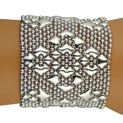 "NEW Sergio Gutierrez Liquid Metal Bracelet Silver B107 2"" Wide Diamond Mesh Cuff - ILoveThatGift"