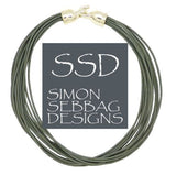 "Simon Sebbag Leather Necklace Slate Gray 17"" Add Sterling Silver Slide - ILoveThatGift"