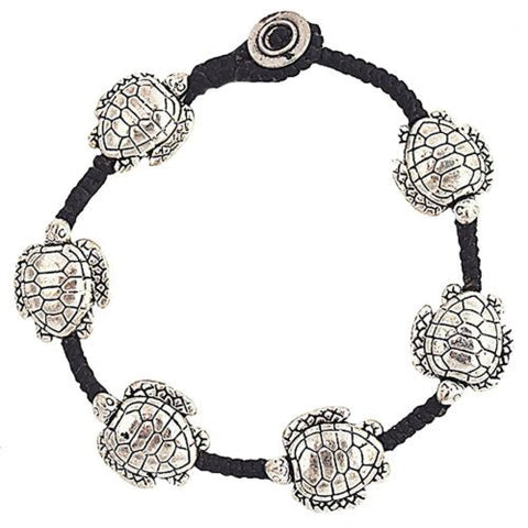 Large Turtle Raised Bracelet by Marah Silver Alloy Black Cotton
