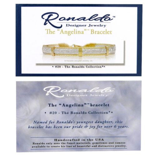 Ronaldo Angelina 853 Collector's Edition Bar Bracelet Stamped Silver Bar Gold - ILoveThatGift