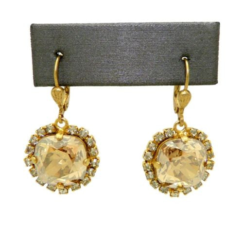 La Vie Parisienne Earrings Gold Swarovski Crystal Surrounded 4537 Champagne - ILoveThatGift