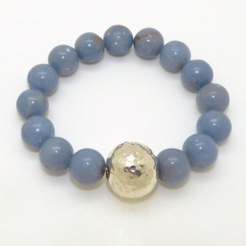 Simon Sebbag Stretch Blue Gray Angelite Bracelet with Hammered Sterling Silver 9 - ILoveThatGift
