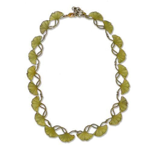 "Ginkgo Gold or Green Leaf Adjustable 16"" Bib Necklace by Michael Michaud Nature - ILoveThatGift"
