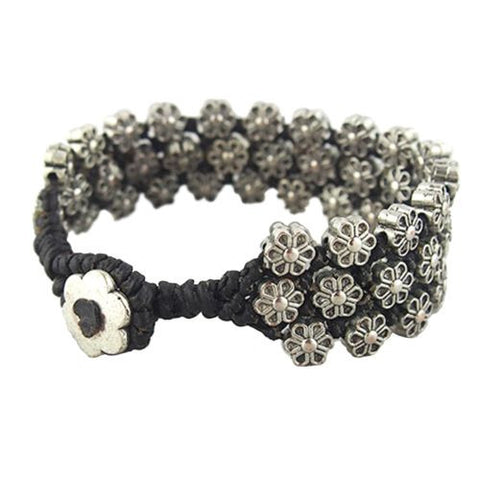 Three Row Flower Raised Bracelet by Marah Silver Alloy Black Cotton
