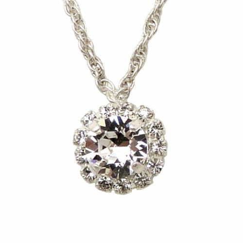 Handmade Silver Clear Swarovski Crystal Surround Gem Necklace - ILoveThatGift