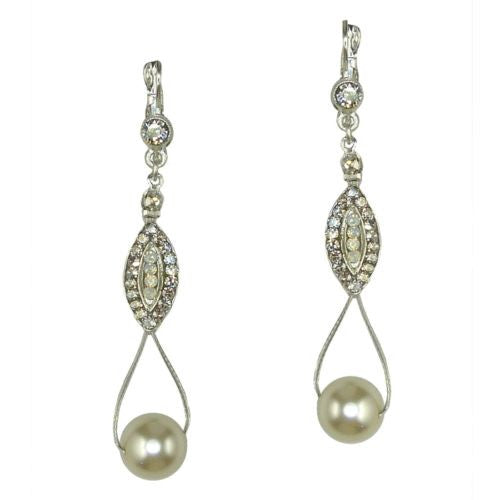 Seasonal Whispers Drop Earrings Silver White Pearls Swarovski Crystals 2993 - ILoveThatGift