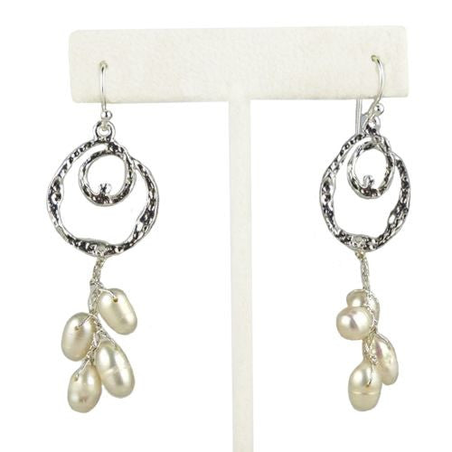 Charlie Silver White Freshwater Pearl Silver Swirl Earrings Elly Preston - ILoveThatGift
