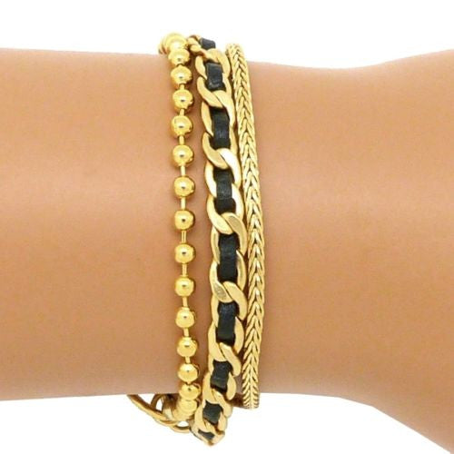 Three Chain 24K Gold Plated and Black Leather Charm Bracelet Hagar Satat Handmad - ILoveThatGift