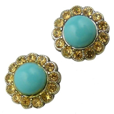 Amaro P024 Post Earrings Round Stud Swarovski Crystals Turquoise Citrine - ILoveThatGift