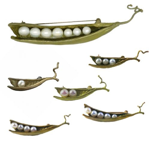Peas in a Pod Michael Michaud Pin Brooch Seven Peas - ILoveThatGift
