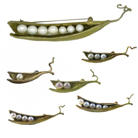 Peas in a Pod Green Michael Michaud Pin Brooch One Two Three Four Five Seven - ILoveThatGift