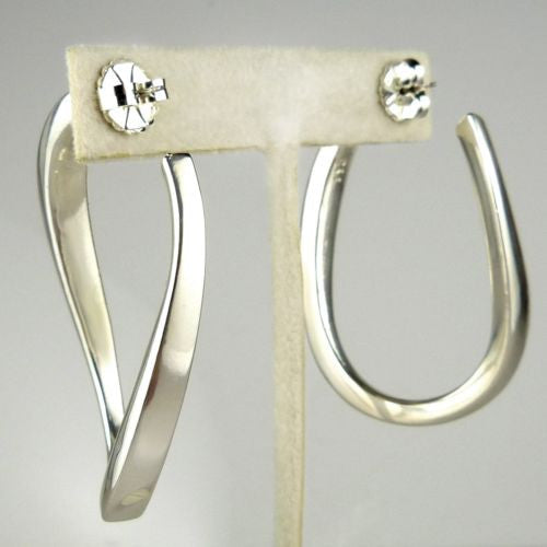 Simon Sebbag Sterling Silver Tapered Twisted Hoop  Earrings E2293 - ILoveThatGift