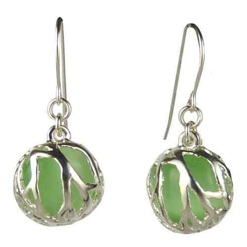 Betsy Frost Design Handmade Sterling Silver 925 Coral Earrings Green Cat Eye - ILoveThatGift