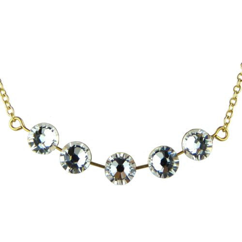 Seasonal Whispers Necklace Yellow Gold 5 Clear Crystals 8259 Swarovski - ILoveThatGift