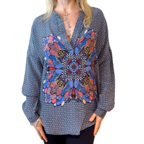 Tolani Heidi Blouse Tunic  Silk Fashion Apparel S M L