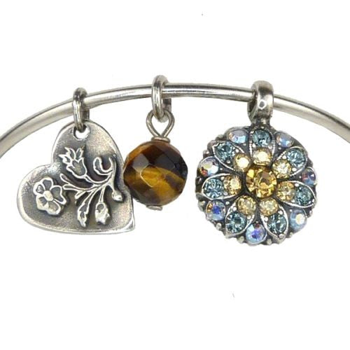 Mariana Guardian Angel Crystal Charm Bangle Bracelet 216-3 Citrine Blue - ILoveThatGift