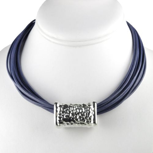 "Simon Sebbag Leather Necklace Periwinkle Blue 18"" Add Sterling Silver Slide - ILoveThatGift"