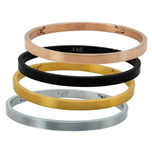 B.Tiff Stainless Steel Bangle Bracelet Silver Gold Rose Black Stack with others - ILoveThatGift