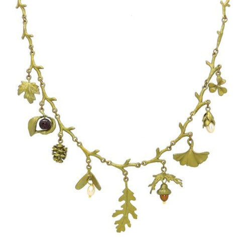 "Acorn & Oak Pearl Garnet Charm 18.5"" Necklace by Michael Michaud - ILoveThatGift"
