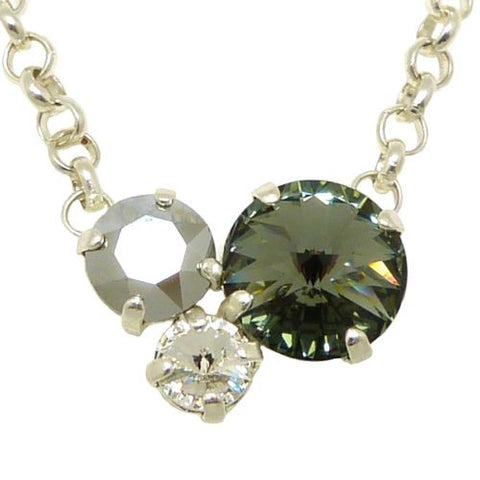 Handmade Silver Swarovski Triple Stone Gem Necklace