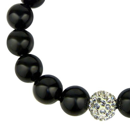 Nanni 10mm Black Porcelain Micro Crystal Pave Stretch Bracelet - ILoveThatGift
