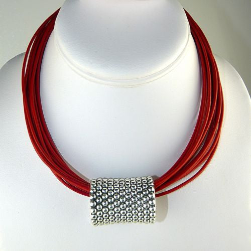 "Simon Sebbag Leather Necklace Red Poppy Add Sterling Silver Slide 18"" - ILoveThatGift"