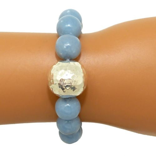 Simon Sebbag Stretch Blue Gray Angelite Bracelet with Hammered Sterling Silver B100ANG - ILoveThatGift