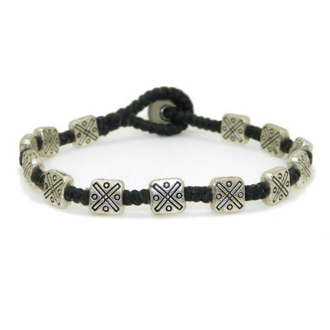 Textured Square Bead Bracelet by Marah Silver Alloy Black Cotton
