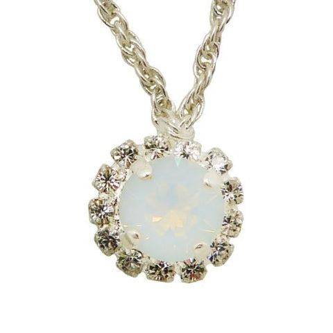 Handmade Silver Opal Swarovski Crystal Surround Gem Necklace