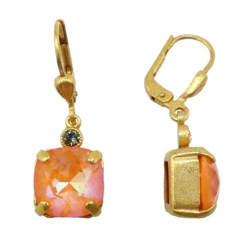 La Vie Parisienne Earrings Gold Swarovski Crystal Dangle Popesco 6581G Tangerine - ILoveThatGift