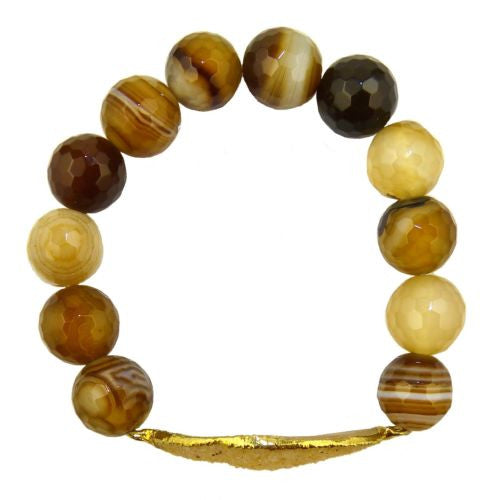 Agate and Druzy Stretch Bracelets by Mindy Gold Designs Earth Glossy MGD - ILoveThatGift