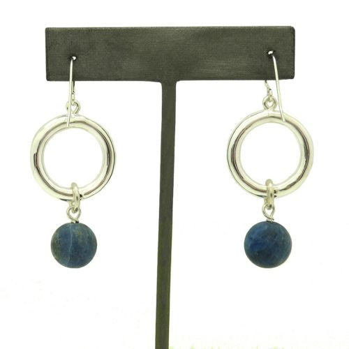 Simon Sebbag Sterling Silver Open Circle Matte Sodalite Drop Wire Dangle Earring EC22MSODA - ILoveThatGift