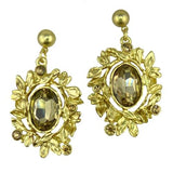 Nanni 18 K Gold Plated Leaf Dangle Earrings with Golden Citrine Crystals - ILoveThatGift