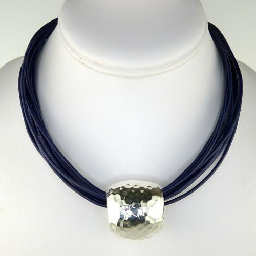 Simon Sebbag Sterling Round Hammered Silver Slide Bead 187 for Leather Necklace - ILoveThatGift