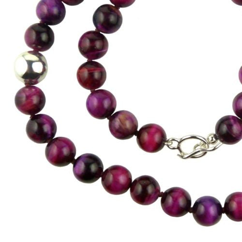 Simon Sebbag Sterling Silver Pink Tigers Eye Beads Toggle Clasp Necklace 24 inch - ILoveThatGift