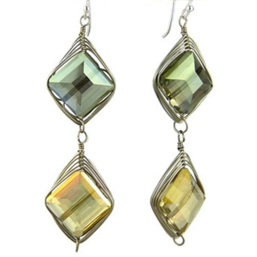 Chunky Crystal Earrings on Silver Wire - Sage Citrine Margot by Elly Preston - ILoveThatGift